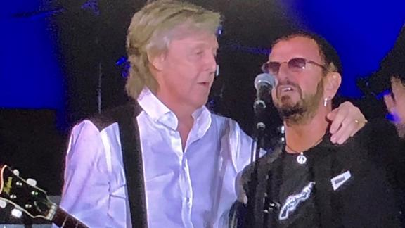 Paul McCartney brought surprise guest Ringo Starr onstage Saturday night in L.A.