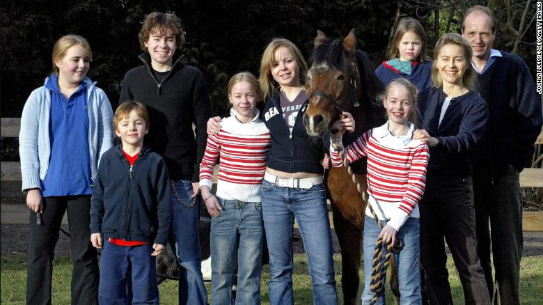 Ursula von der Leyen is pictured with her  husband Heiko von der Leyen and their seven children.