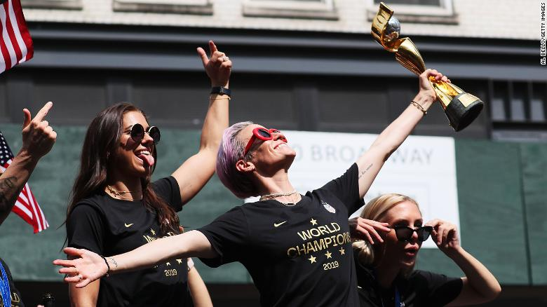 Alex Morgan, Megan Rapinoe, and Allie Long celebrate during the U.S. Women's National Soccer Team Victory Parade and City Hall Ceremony on July 10, 2019 in New York City.