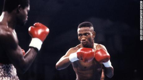 LAS VEGAS - MAY 19,1990: Pernell Whitaker (R) looks to throw a punch to Azumah Nelson during the fight at Caesars Palace in Las Vegas, Nevada. Pernell Whitaker won the WBC lightweight title and IBF lightweight title.  (Photo by: The Ring Magazine via Getty Images)