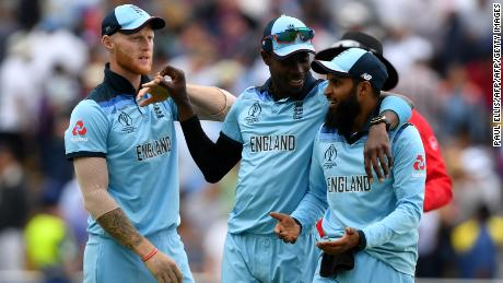 England's Ben Stokes, (L)  Jofra Archer (C) and Adil Rashid played a key role in winning the World Cup.