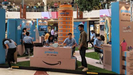 An Amazon Prime Day promotion is seen on display at a mall in New Delhi on Sunday, July 14.