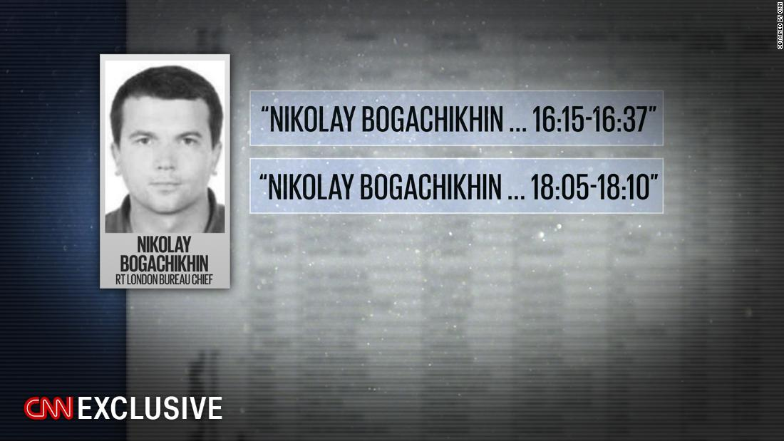 Nikolay Bogachikhin, London bureau chief for the Kremlin-controlled news outlet RT, visited Julian Assange at the embassy twice in June 2016, according to visitor logs obtained by CNN.