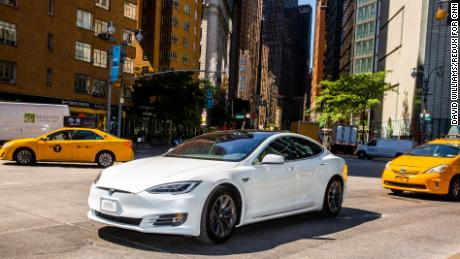 A Tesla Model S Long Range in Manhattan. The new Long Range Plus goes even further.