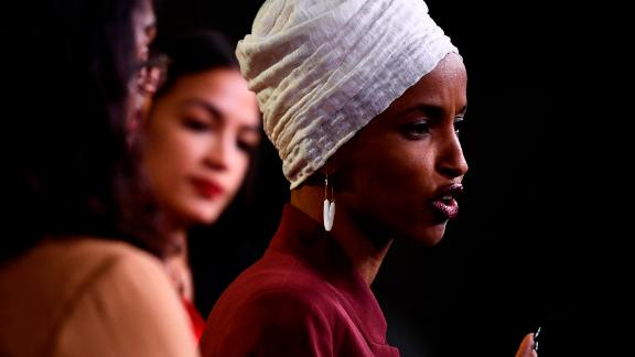"""US Representatives Ilhan Omar (D-MN) speaks during a press conference, to address remarks made by US President Donald Trump earlier in the day, at the US Capitol in Washington, DC on July 15, 2019. - President Donald Trump stepped up his attacks on four progressive Democratic congresswomen, saying if they're not happy in the United States """"they can leave."""" (Photo by Brendan Smialowski / AFP)        (Photo credit should read BRENDAN SMIALOWSKI/AFP/Getty Images)"""