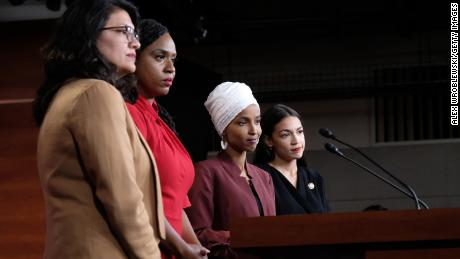 "WASHINGTON, DC - JULY 15: U.S. Rep. Rashida Tlaib (D-MI), Rep. Ayanna Pressley (D-MA), Rep. Ilhan Omar (D-MN), and Rep. Alexandria Ocasio-Cortez (D-NY) pause between answering questions during a press conference at the U.S. Capitol on July 15, 2019 in Washington, DC. President Donald Trump stepped up his attacks on four progressive Democratic congresswomen, saying if they're not happy in the United States ""they can leave."" (Photo by Alex Wroblewski/Getty Images)"