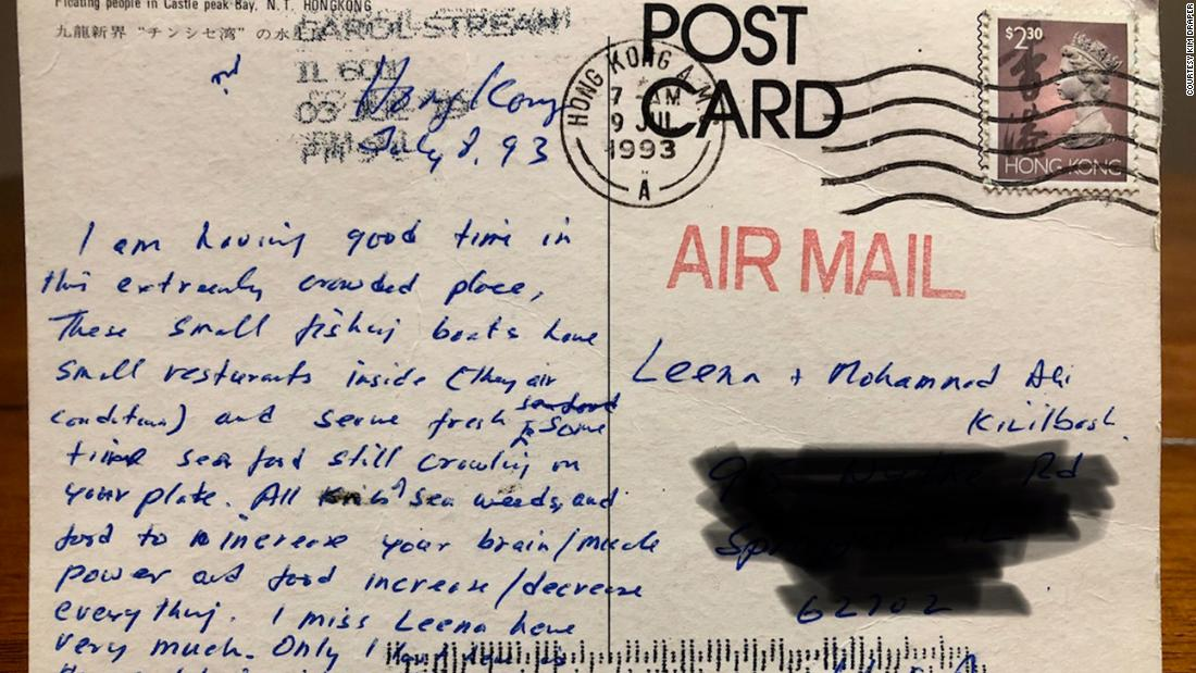 A postcard mailed from Hong Kong in 1993 arrived in Illinois last week