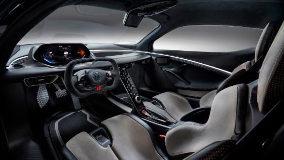The Evija's steering wheel is based on those used in race cars.