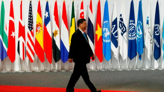 Chinese President Xi Jinping arrives at the G20 leaders summit on June 28 in Osaka, Japan.