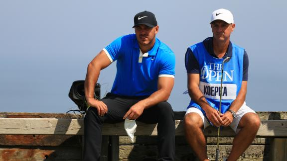 Brooks Koepka and caddie Ricky Elliott, a Portrush native, ahead of the Open Championship.