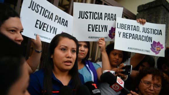 Hernandez speaks before her hearing at Ciudad Delgados court, San Salvador, on July 15, 2019.