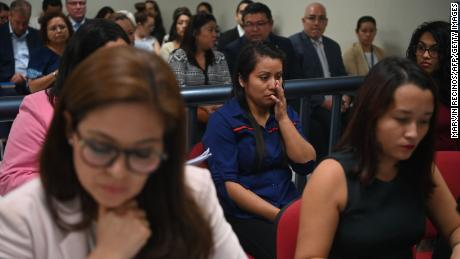 Evelyn Hernandez (center) appears before Ciudad Delgados court, San Salvador, on July 15, 2019.