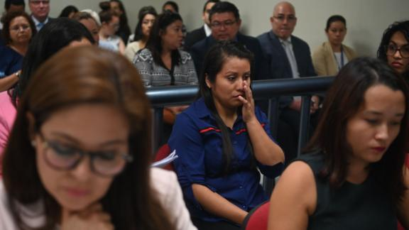 Evelyn Hernandez (center) appears before Ciudad Delgados court, San Salvador, on July 15, 2019.