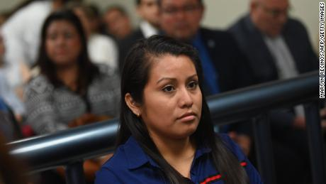 Evelyn Hernandez appears before Ciudad Delgados court, San Salvador, on July 15, 2019.