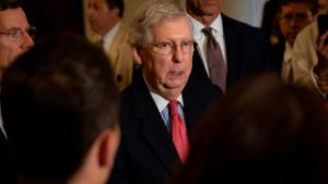 WASHINGTON, DC - JULY 16: Senate Majority Leader, Mitch McConnell (R-KY), speaks to the media during a press conference following the Senate Republican Leadership lunches on July 16, 2019 in Washington, DC. (Photo by Pete Marovich/Getty Images)
