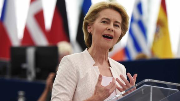 Outgoing German Defence Minister and EU Commission president nominee Ursula von der Leyen delivers a speech during her statement for her candidacy for President of the Commission at the European Parliament on July 16, 2019 in Strasbourg, eastern France. - Ursula von der Leyen faced the European Parliament on July 16 ahead of a knife-edge secret vote to confirm her in Brussels' top job. The 60-year-old conservative will replace Jean-Claude Juncker as president of the European Commission if she secures a majority in the Strasbourg assembly. (Photo by FREDERICK FLORIN / AFP)        (Photo credit should read FREDERICK FLORIN/AFP/Getty Images)