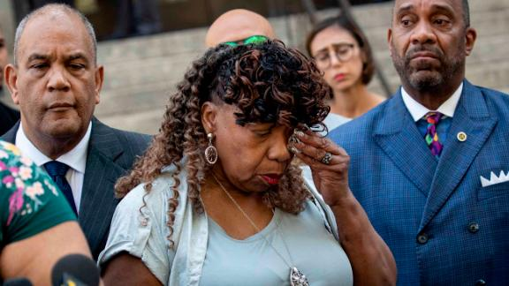 Eric Garner's mother, Gwen Carr, tearfully spoke to reporters Tuesday.