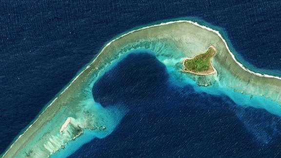 Satellite image of Castle Bravo Crater in Bikini Atoll, part of the Marshall Islands in the Pacific Ocean on March 9, 2017.