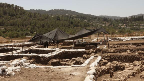 A photograph taken on July 16, 2019 shows a partial view of a settlement from the Neolithic Period (New Stone Age), discovered during archaeological excavations by the Israel Antiquities Authority near Motza Junction, about 5km west of Jerusalem. - The settlement is the largest known in Israel from that period and one of the largest of its kind in the region. (Photo by GALI TIBBON / AFP)        (Photo credit should read GALI TIBBON/AFP/Getty Images)