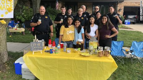 Alizay Kashif, in yellow, and her friends saw an outpouring of support for their lemonade stand.