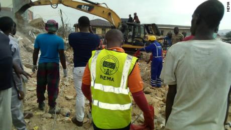 Rescue officials at the site of the building collapse in Jos, Plateau State on July 16. 2019.