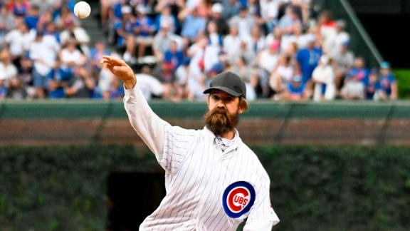 CHICAGO, ILLINOIS - JULY 16: Alligator expert and trapper Frank Robb throws out a ceremonial first pitch before the game between the Chicago Cubs and the Cincinnati Reds at Wrigley Field on July 16, 2019 in Chicago, Illinois. (Photo by David Banks/Getty Images)