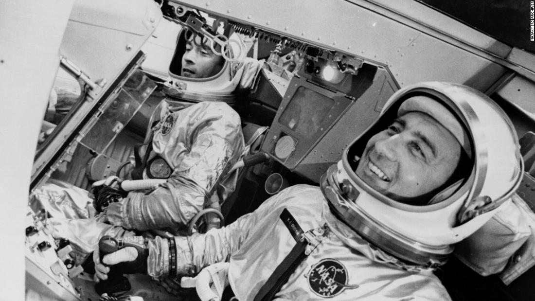 Gemini 3 took astronauts John Young and Gus Grissom -- and a contraband corned beef sandwich on rye -- into space in 1965. Young bought the deli sandwich in Cocoa Beach, Florida, and hid it in his spacesuit so at mealtime he could surprise his commander with it. However, when crumbs started floating around the cabin, the sandwich was put away, never to be spoken of again. That is, until the incident had to be investigated at a House of Representatives Appropriations Committee back on Earth. Shown is Young (left) and Grissom (right) in the spacecraft simulator.