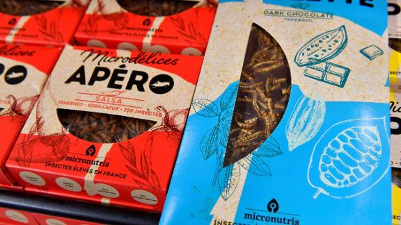 Mixed bugs for aperitives and chocolate bars with insects are sold in supermarkets in France.
