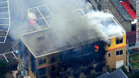In this aerial image, fire breaks out at a studio of Kyoto Animation Co. on July 18, 2019 in Kyoto, Japan.