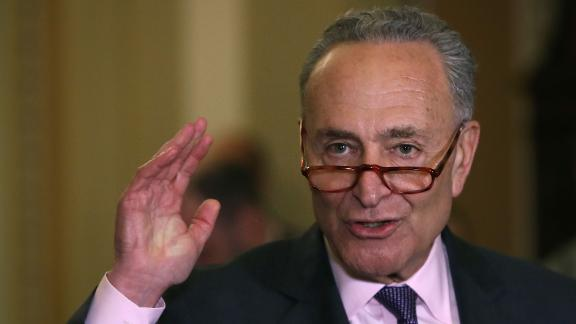 """WASHINGTON, DC - MAY 07: Senate Minority Leader Charles Schumer (D-NY) speaks to the media after attending the Democratic weekly policy luncheon on Capitol Hill May 7, 2019 in Washington, DC. Earlier in the day Senate Majority Leader Mitch McConnell (R-KY) spoke on the Senate floor about the Mueller investigation into Russian meddling into the 2016 U.S. election and stated """"case closed"""". (Photo by Mark Wilson/Getty Images)"""