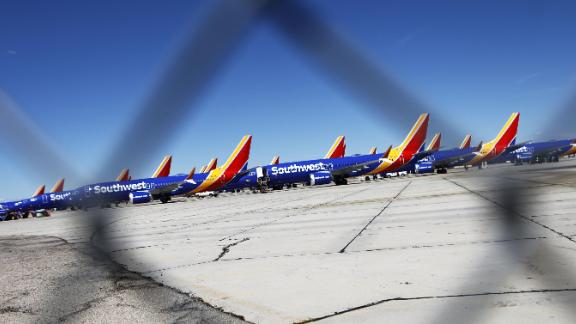 VICTORVILLE, CA - MARCH 27:  Southwest Airlines Boeing 737 MAX aircraft are parked at Southern California Logistics Airport on March 27, 2019 in Victorville, California. Southwest Airlines is waiting out a global grounding of the aircraft at the airport.  (Photo by Mario Tama/Getty Images)