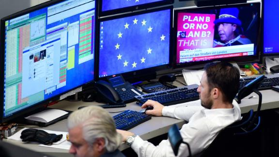 FRANKFURT AM MAIN, GERMANY - JANUARY 16: A trader looks at his computer screens at the Frankfurt Stock Exchange the day after a large majority of MPs in the British House of Commons rejected British Prime Minister Theresa May's Brexit deal on January 16, 2019 in Frankfurt, Germany. The government suffered a historic defeat in the House of Commons last night as MPs voted 432 to 202 to reject Theresa May's Brexit Deal. Labour Leader Jeremy Corbyn immediately tabled a motion of no confidence in the government that will be debated and voted on later today. (Photo by Thomas Lohnes/Getty Images)