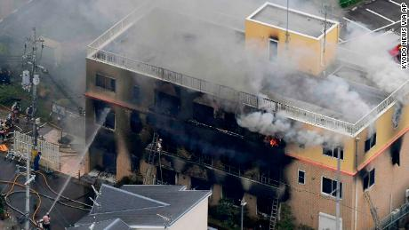 The fire broke out at a studio of Kyoto Animation Co.