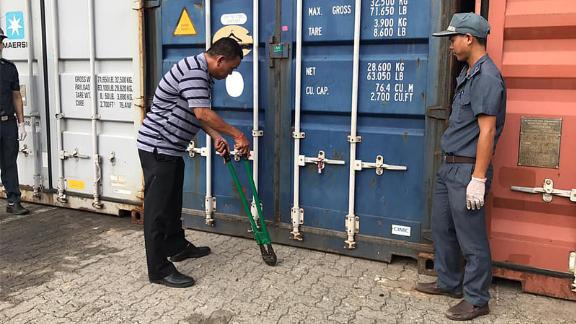 Shipping containers full of plastic waste were found in Sihanoukville port on July 16, 2019.