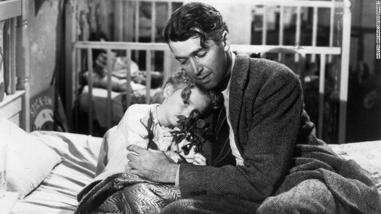 Karolyn Grimes and James Stewart in  'It's a Wonderful Life.' (Photo by Hulton Archive/Getty Images)