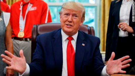 President Donald Trump speaks during a photo opportunity with members of the 2019 U.S. Special Olympics athletes and staff, in the Oval Office of the White House, Thursday, July 18, 2019, in Washington. (AP Photo/Alex Brandon)