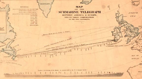 A map showing the first telegraph cable laid across the Atlantic between the US and UK.