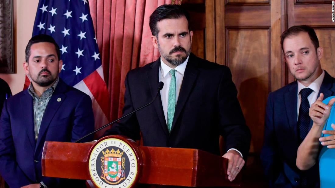 Rosselló attends a news conference in San Juan on July 16.