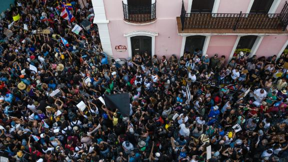 Protesters take to the streets of San Juan on July 15.