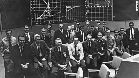 Spencer Gardner, seen here in the first and fourth row from the right, was one of the youngest men in the room during the landing of Apollo 11.