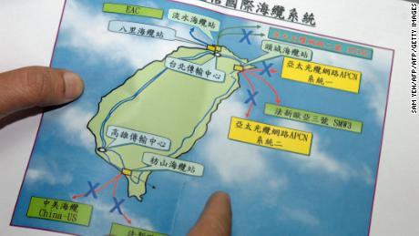 A map showing cable outages as a result of an earthquake off the coast of Taiwan in December 2006.