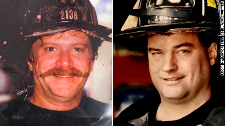 "New York Mayor Bill de Blasio tweeted images of  FDNY firefighters Richard Driscoll and Kevin Nolan, saying, ""200 members of the FDNY have now succumbed to WTC-related illness. They didn't hesitate to run into danger. They stayed until the work was done."""