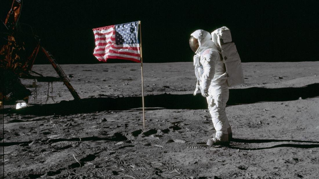 190718152643 apollo 11 buzz aldrin on moon next to flag super tease