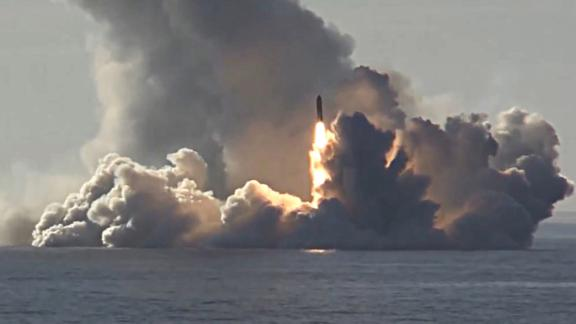 Russia test-launches an intercontinental ballistic missile from a nuclear submarine in the White Sea in May 2018.