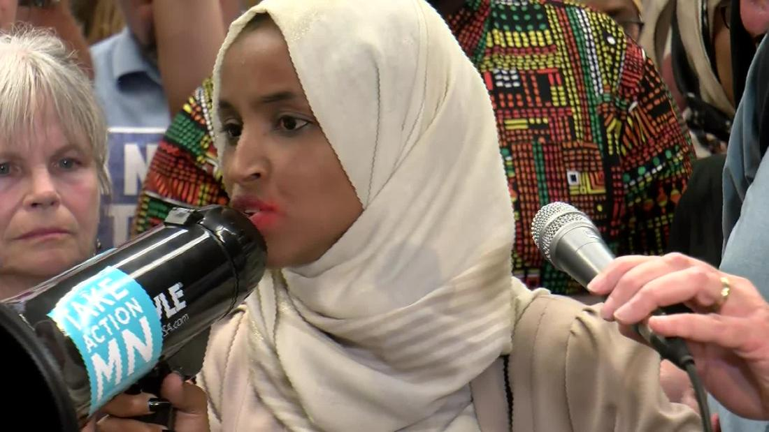 Crowd surprises Rep. Omar at airport with new chant