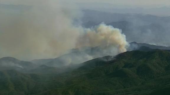 Smoke from the Cellar Fire near Prescott, Arizona was seen from miles away on Thursday.