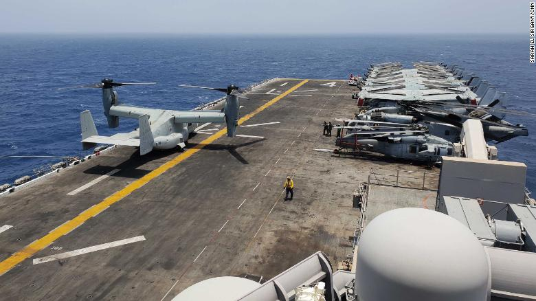 The USS Boxer's flight deck covers 2.2 acres. On the flight deck and inside its belly, the vessel carries the following aircraft: The Harrier, the Osprey, the Sea Hawk and the Sea Stallion.