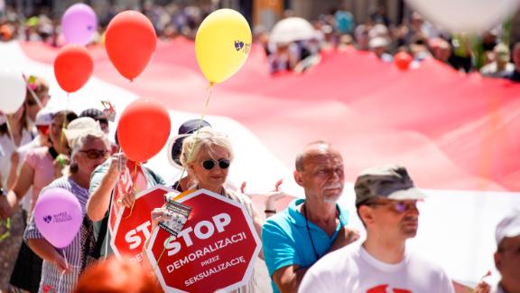 People walk through Warsaw as part of the annual anti-LGBT 'March for Life and Family.'