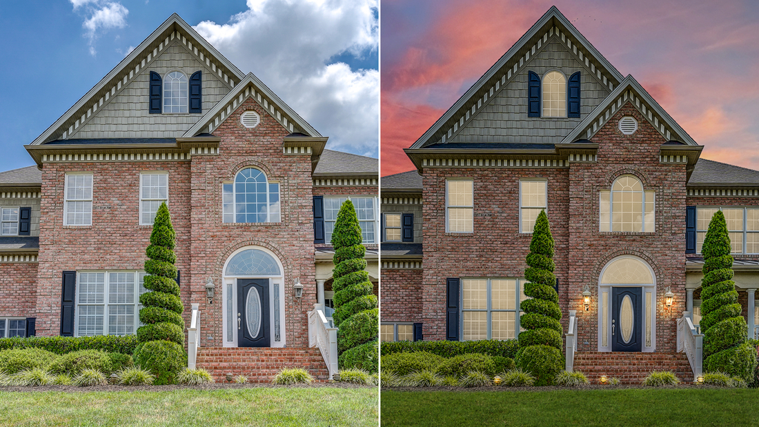 The photo on the left is the originial, the image on the right has been virtually staged with lush grass, lighting and twilight to pull more attention to the online listing.