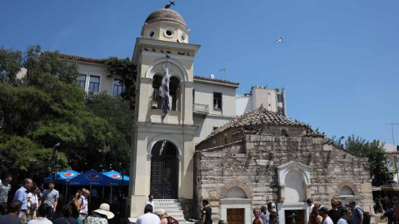 The Church of the Pantanassa's bell tower was damaged in the Athens quake.